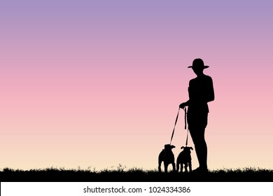 Silhouette girl and two dogs, on a relaxing day.