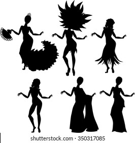 silhouette of girl and various dance costumes