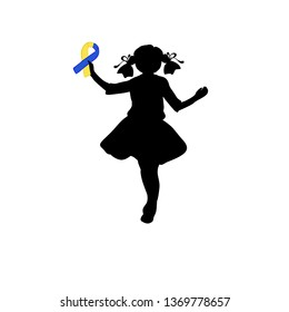 Silhouette girl with yellow blue ribbon. World down syndrome day. JPG illustration.