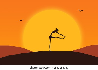 Silhouette of a girl in yoga stand on beautiful sunset background ilustration. Healthy lifestyle and relaxation concept.