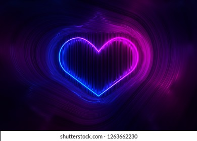 The silhouette of a glowing neon heart on the background of shiny stripes. 3D illustration