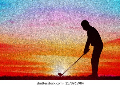 silhouette golfer playing golf during beautiful sunset. oil painting