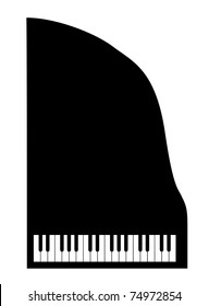 silhouette grand piano on white background