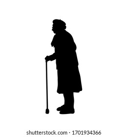 Silhouette grandmother stands sideways. Illustration graphics icon