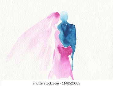 Silhouette of groom and bride. Watercolor illustration