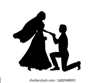 Silhouette of groom kneeling puts ring on the bride. Illustration icon symbol