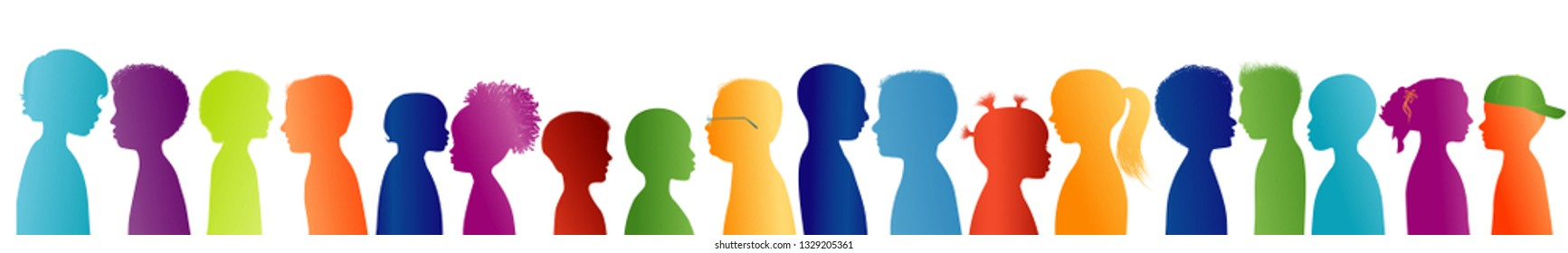 Silhouette group of colored profile children. Communication between multi-ethnic children. Children talking