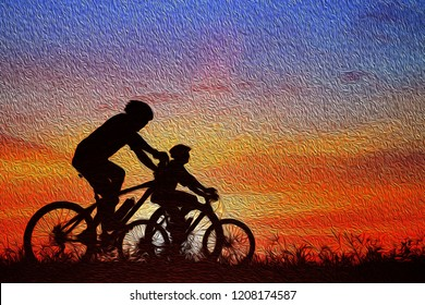 Silhouette group friend  and bike relaxing on blurry sunset background. oil painting
