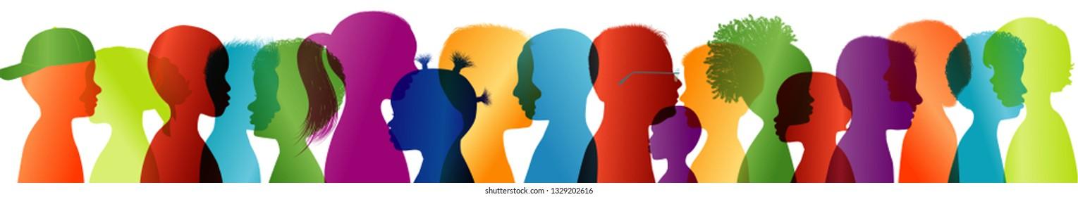 Silhouette group of modern children in colored profile. Communication between multi-ethnic children. Children talking