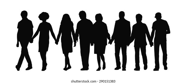 silhouette of group of people holding their hands and walking together in a row, front view