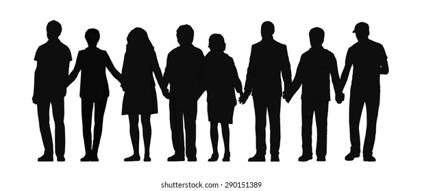 silhouette of group of people holding their hands standing all together in a row, front view