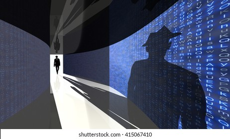 A silhouette of a hacker with a black hat in a suit enters a hallway with walls textured with random letters 3D illustration backdoor concept