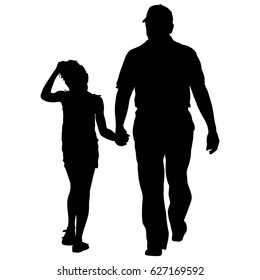 Silhouette of happy family on a white background.