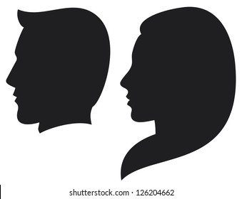 silhouette head of a man and woman