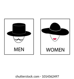 Silhouette head men and women on white background. WC icon. Icon public toilette and bathroom for hygiene. Sign restroom women and men. Template for poster,sign. Flat image illustration.