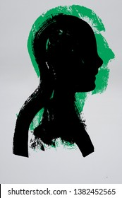 Silhouette of a Head,  Side Profile, Black and Green Ink, Paper, Illustration,  Head, Human Head, Profile, Thought Provoking, Paint Text, Crisis Management, Solitary Person, Decision Making, Outreach