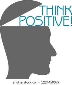 Silhouette of a head Think Positive!