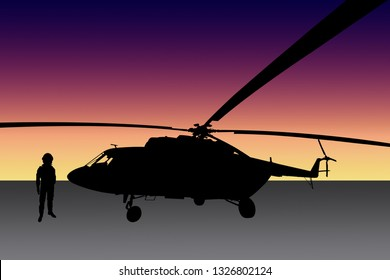 Silhouette of helicopter and pilot on colorful gradient background.