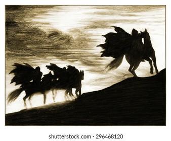 Silhouette of the horsemen. Sketch illustration
