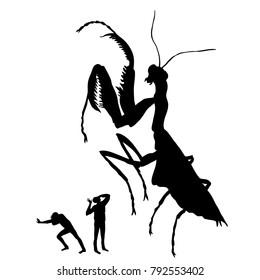 Silhouette of the huge praying mantis. People run away from the praying mantis