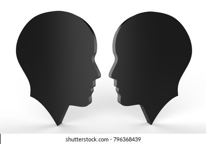 Silhouette human faces talking to each other, 3d illustration