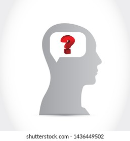 Silhouette of Human Head with Question mark isolated over a white background