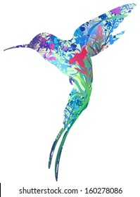 silhouette of hummingbird in tropical flowers, grass and insects. white background