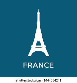 Silhouette icon of Eiffel tower. France logo. Clean and modern illustration for design, web.