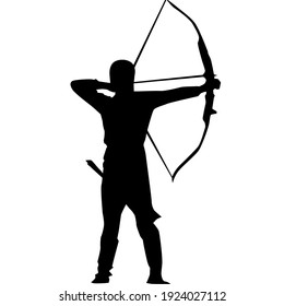 a silhouette illustration of an archer.