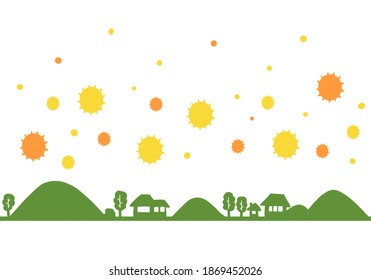 Silhouette illustration of the countryside with pollen.