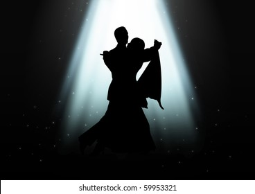 Silhouette illustration of a couple dancing under the light
