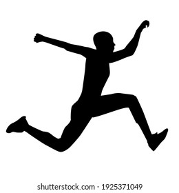 a silhouette illustration of a man doing long distance jump.