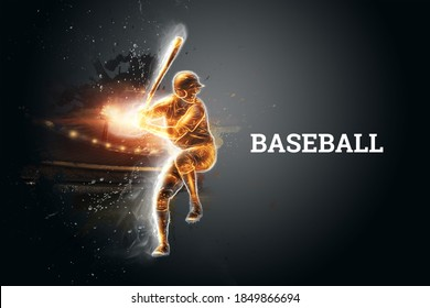 Silhouette, the image of a baseball player with a bat on the background of the stadium. Online sports concept, betting, American game. 3D illustration, 3D render