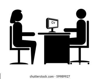 Silhouette Job Interview (Male Boss & Female Candidate)