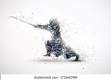 silhouette of a kendo from particles. silver light background.