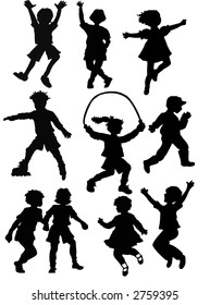 silhouette kids playing sports