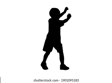 Silhouette kids run Exercise with white background with clipping path