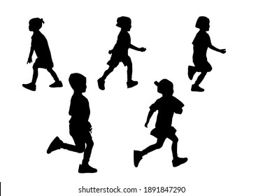 Silhouette kids running playing with white background with clipping path.