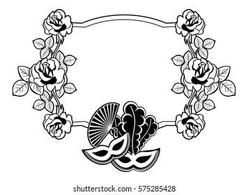 Silhouette label with carnival masks. Copy space. Raster clip art.
