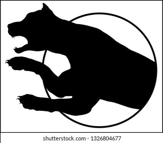 A silhouette of a leopard jumping out of a circle in Black and white