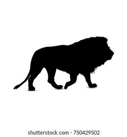 Silhouette of lion. Profile.