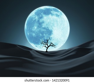 Silhouette of a Lonely Tree Against Big Blue Moon. Abstract Background. 3D illustration