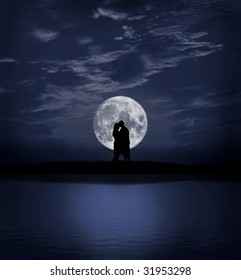 silhouette of a loving couple at night with full moon
