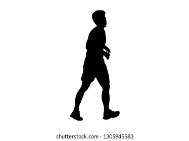 silhouette male and female walking exercise for Health At area Stadium Outdoors.