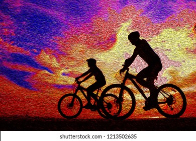 Silhouette man and bike relaxing on sunrise oil painting