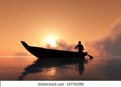 Silhouette of the man in a boat