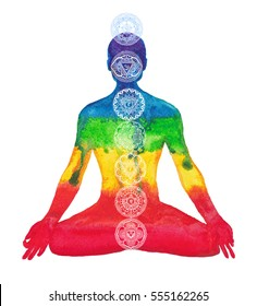 Silhouette of man with chakras on a white background.