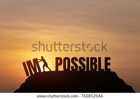silhouette man change impossible possible text stock illustration