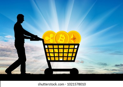 Silhouette of a man and a crypto currency in a grocery cart. The concept of purchasing crypto currency