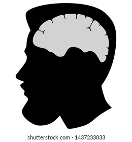 Silhouette man head with beard and brain organ. Flat design. Illustation isolated on white background